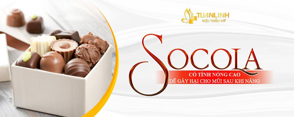 Socola có tính nóng, gây hại cho quá trình hồi phục hậu nâng mũi