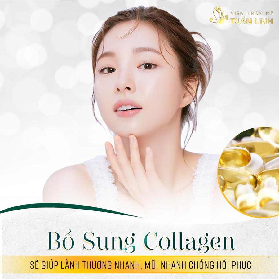 Bổ sung collagen sẽ giúp lành thương nhanh, mũi nhanh chóng hồi phục | Nâng mũi có được uống collagen không?